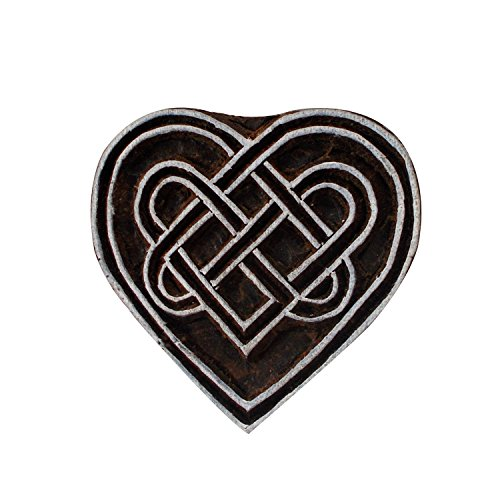 Heart Shape Wooden Handicraft Textile Stamps Indian Brown Decorative Stamp Paper Printing Block (Design #9) by CraftyArt