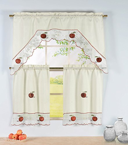 Window Elements Embroidered 3-Piece Kitchen Tier and Valance 60 x 72 Set with Scalloped Border, Apple Time