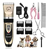 Pet Grooming Clippers - Focuspet Rechargeable Cordless Dog Grooming Clippers Kit Low Noise Electric Hair Trimming Clippers Set For Small Medium Large Dogs Cats Other Animals