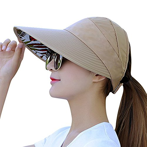 Women's Sun Hat, Summer Leisure UV Protective Visor Hat,Foldable Wide Brim Empty Top Sun Hat for Travel Beach - Khaki by Eastever