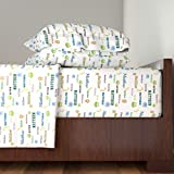 Roostery Zoo 3pc Sheet Set Baby Namesake Zoo Animals-Personalized Matthew by Drapestudio Twin Sheet Set made with
