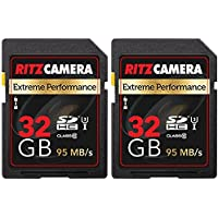 Ritz Camera Extreme Performance SD 32GB 95/45 MB/S Read/Write Speed U3 Class-10 SDHC Memory Card - 2 Pack