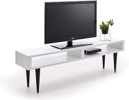 HOGAR24 ES Mesa Televisión, Mueble TV Salón Diseño Vintage 2 Huecos, Acabado Color Blanco con Patas Color Negro. Medidas: 140 x 40 x 30 cm: Amazon.es: Hogar