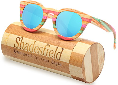 Wood Polarized Sunglasses Wayfarer Style -100%UV Protection,Colorful Bamboo Wooden Frame - Unique Frames Wooden