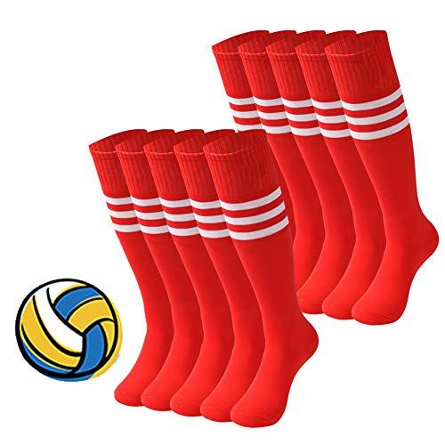 - Tube Socks Women, saounisi Knee High Soccer Socks Stripe Football Volleyball Athletic Sports Tube Long Team Socks 10 Pairs Red