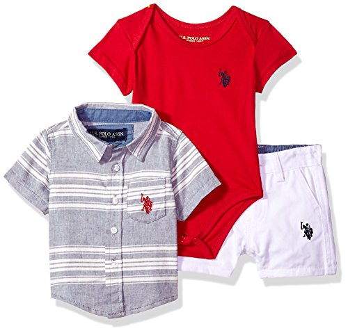 U.S. Polo Assn. Baby Boys Sleeve Shirt, T-Shirt and Short Set, Small Woven Label at Hem Multi Plaid, 12M (Set T-shirt Sleeve)
