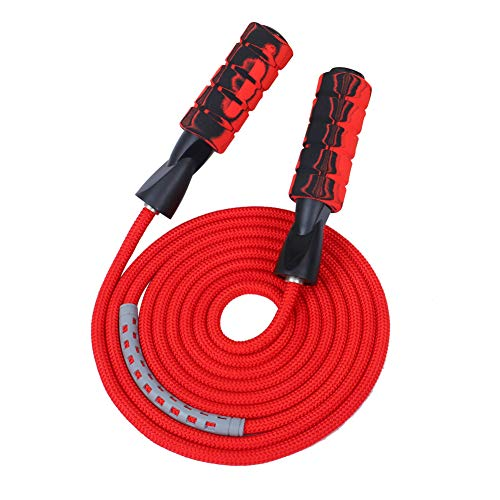 APICCRED Professional Double Ball Bearing Jump Rope Weighted Cotton Rope Adjustable Length,for Cardio, Endurance Training, Fitness Workouts, Jumping Exercise (red) ...