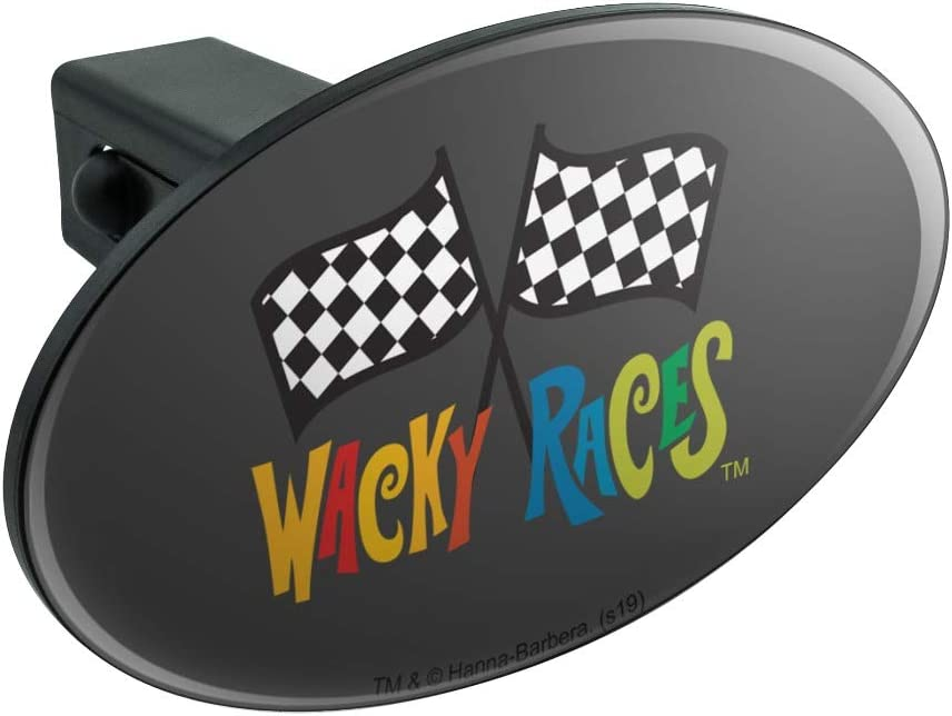 Graphics and More Wacky Races Logo Oval Tow Trailer Hitch Cover Plug Insert