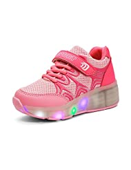 PAMRAY Led Shoes Sneakers for Boys Girls Kids Light up 7 Color Heelys Wheels Can be Hidden Best Christmas Gift Wheels Can be Hidden Best Christmas Gift