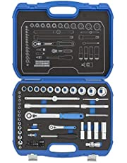 """GEDORE Zestaw kluczy nasadowych sześciokątnych 1/4"""" + 1/2"""" w wytrzymałej walizce z tworzywa sztucznego, 69-częściowy, z dwoma grzechotkami przełączającymi"""