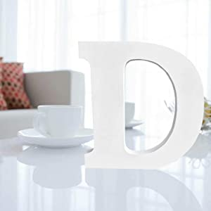 """Wooden Letters for Decoration,9.5""""x 9""""x 0.8""""Wooden Hanging Wall 26 Letters Alphabet Wall Letter for Children Baby Name Girls Bedroom Wedding Birthday Party Home Decor-Letters D"""