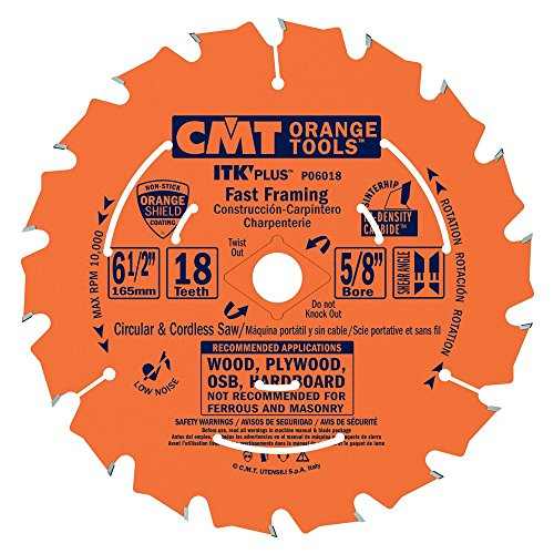 CMT P06018 ITK PLUS Saw Blade for Fast Framing, 6-1/2 X 18 Teeth, 10° ATB + Shear Angle, 5/8-Inch <> Bore