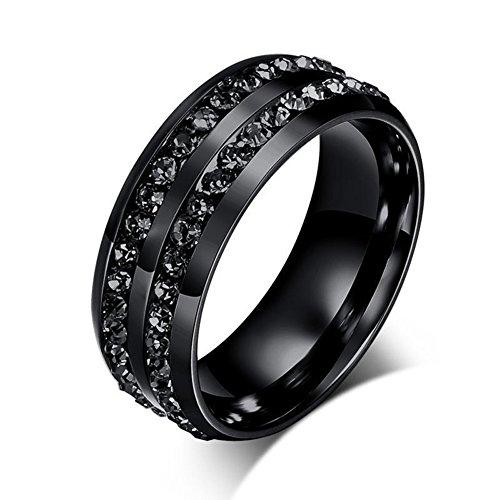Anillo de titanio para dedo de Yamalans, color negro, unisex, 2 filas, Negro, 7