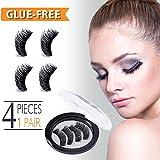 Magnetic Eyelashes, False Eyelashes Extensions No Glue Reusable 3D Mink Eyelashes Kit Natural Look Beauty Enhancer, Make-up Accessories, Black (Dual Magnets, 4 Pcs 1 Pair)