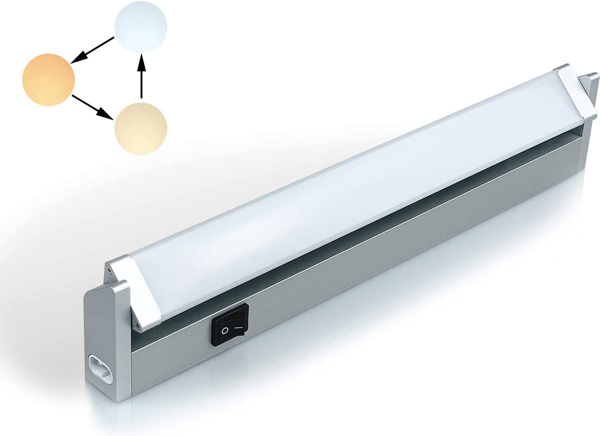 LED iluminacion bajo Mueble Giratoria con Tres Temperaturas de Color 3000 K/4000 K/6000 KLuz Cocina Estante Lavabo Armario con Kit de Instalación de 7watts 350Lúmenes 33cm