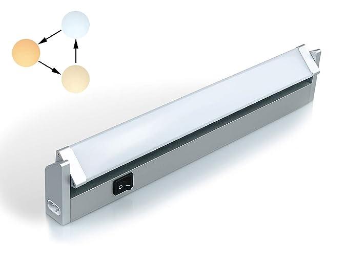 LED iluminacion bajo Mueble Giratoria con Tres Temperaturas de Color 3000 K/4000 K/6000 KLuz Cocina Estante Lavabo Armario con Kit de Instalación de ...