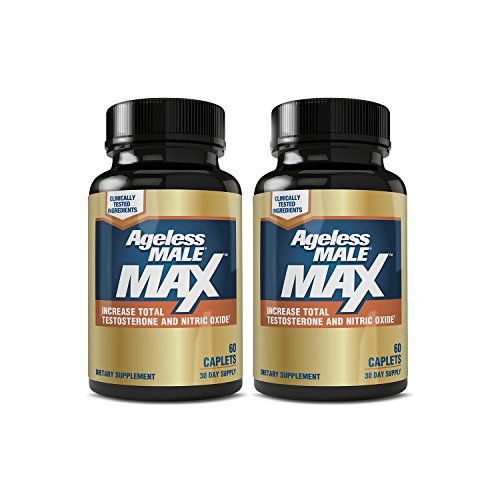 New Vitality Ageless Male Max Total Testosterone and Nitric Oxide Booster Supplement for Hitting Your Prime (2-Pack, 120 Tablets)