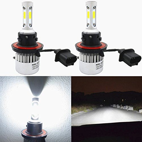Alla Lighting 8000lm 9008 H13 LED Headlight Bulbs Xtreme Super Bright CSP LED H13 Bulb Xenon White H13 9008 LED Headlamp Conversion Kits -Dual Hi/Lo Beam Headlight (Set of 2) ()