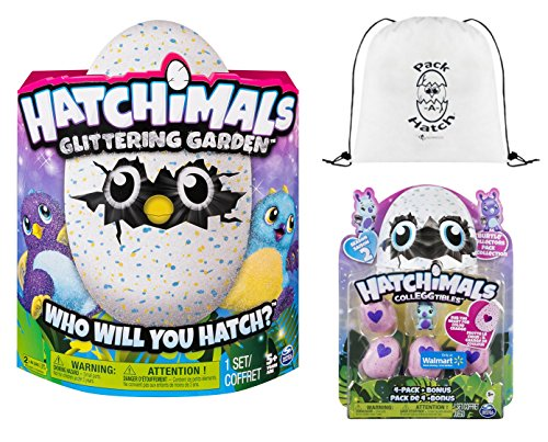 Hatchimals Glittering Garden Draggle   Colleggtibles 4 Pack   Bonus  Season 2    Pack A Hatch Cinch Backpack Combo