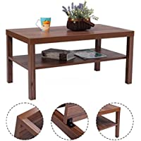 Giantex Rectangular Walnut Wood Coffee Table Two-Layer End Table w/ Storage Shelf for Living Room