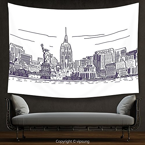 House Decor Tapestry New York Decor Sketchy Simple View of NYC Statue of Liberty Freedom Symbol Ellis Island Print Purple White Wall Hanging for Bedroom Living Room Dorm - John Ellis Water