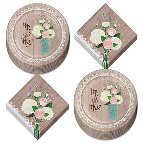 Rustic Wedding Party and Bridal Shower Dessert Plates and Beverage Napkins - Floral and Lace Barnwood Design (Serves 16)