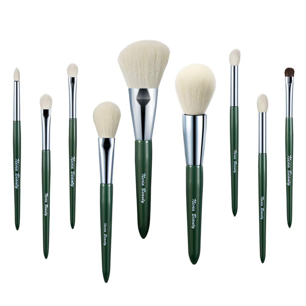 Neria Beauty Makeup Brush Set, 9Pcs Emerald-green Color Premium Synthetic Makeup Brushes for Powder Foundation Blush Eyeshadow