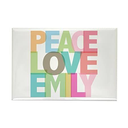 CafePress diseño de símbolo de la Paz Love Emily Rectangular ...