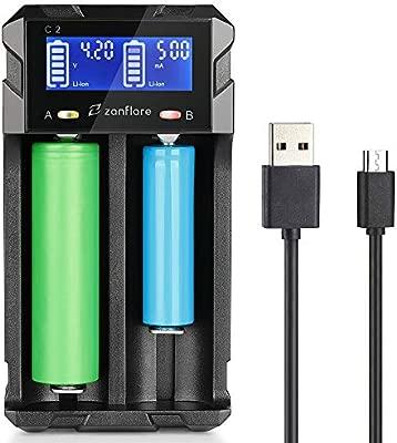 Zanflare Cargador C2 Inteligente, Pantalla LCD Cargador de Pilas Universal Rápido, y para Baterías Recargables Ni-MH 18650 26650 26500, etc.