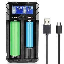 Zanflare Cargador C2 Inteligente, Pantalla LCD Cargador de Pilas Universal Rápido, y para Baterías Recargables Ni-MH Ni-Cd A AA AAA SC, Li-ion 18650 26650 26500 22650 18490 17670 17500 17355 16340 14500 10440 y otras baterías recargables