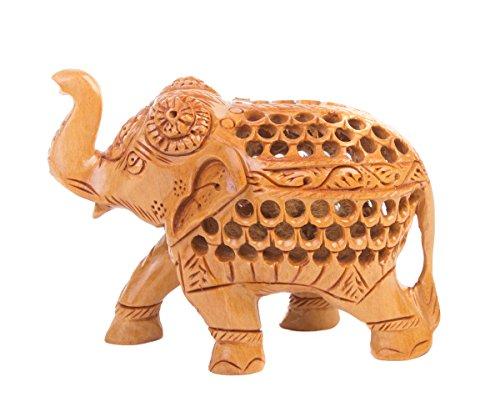 SmartHUG Hand Carved Wooden Elephant Figurine, Brown