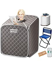 COSTWAY Portable Folding Steam Sauna Tent, Full Body Personal Home Spa for Weight Loss, 9 Adjustable Temperature Levels with Remote Control Steam Hose Foot Massage Roller Absorbent Pad (Gray)