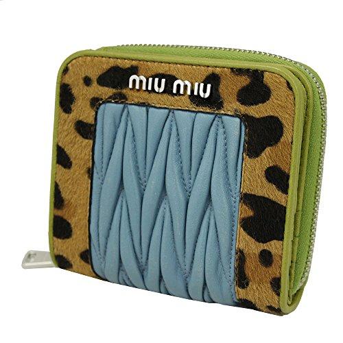 Miu Miu Blue Leather & Leopard Print Bi-fold Wallet 5ML522