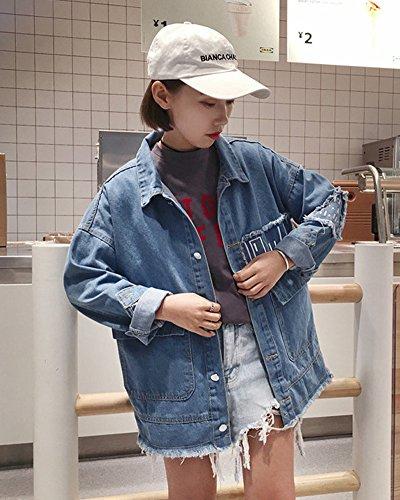Longues Veste Bleu Rose À Survêtement Manches Veste Et Printemps Broderie Femmes Veste Automne Minetom Jeans Denim Filles awB0qxx7