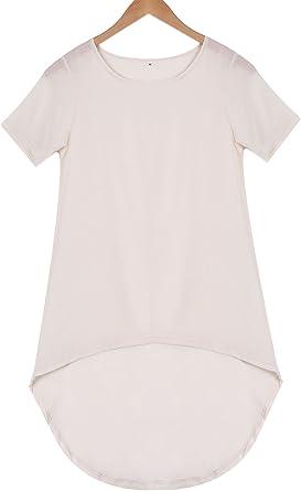 Top Camisa Asimétrica de Manga Larga para Mujer Camiseta de ...