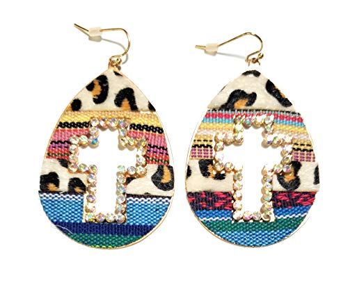 Cut Out Leopard Serape Earrings Aztec Cheetah AB Bling Rhinestone Jewelry Jp (Cross)