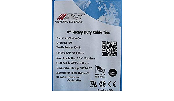 """AL-08-18-0-C ACT Fastening Solutions 8/"""" Miniature Cable Ties"""