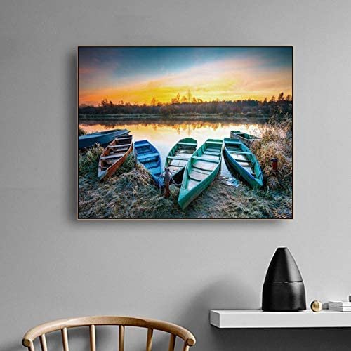 キャンバス書道絵画シーサイドサンライズボートポスターとプリント、リビングルームの家の装飾のための装飾的な壁の写真90x72cm枠