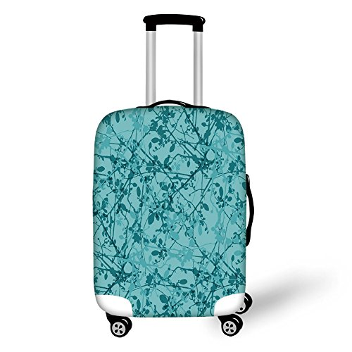 Travel Luggage Cover Suitcase Protector,Teal,Ink Drawing Inspired Intertwined Tree Branches Buds and Leaves in Abstract Design Decorative,Teal Turquoise,for Travel -  HongKong Fudan Investment Co., Limited, LXXBT_QZZD_08068_S45.5