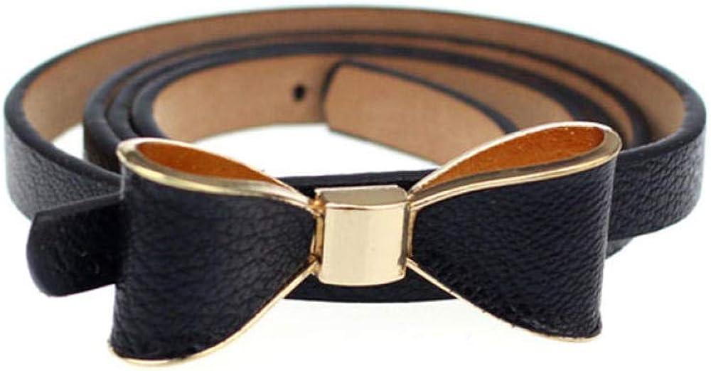 MOAIXKMM Cinturón fino casual de cuero Candy Women Skinny Butterfly Bow Cinturón Cinturón Vestido femenino Pretina cinto feminino pasek damski riem A9