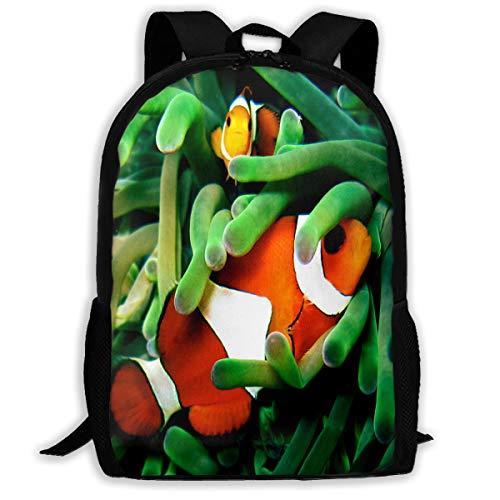 Backpack For Girls Boys Clown Fish Zipper School Bookbag Daypack Travel Rucksack Gym Bag For Man Women