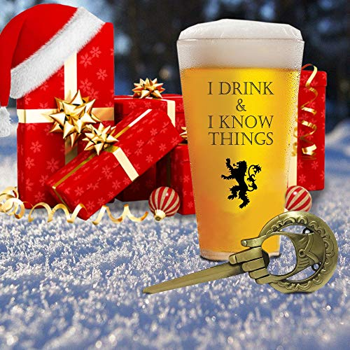 I Drink and I Know Things 17 oz Beer Glass + FREE Hand Of The King Bottle Opener Made In Casterly Rock – Game Of Thrones Inspired – Funny Novelty Gift - With Unique Gifts box included by Desired Cart 4