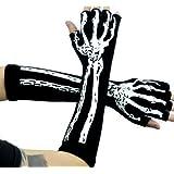 Deathrock Skeleton Fingerless Gloves Gothic Punk Rock Arm Warmers