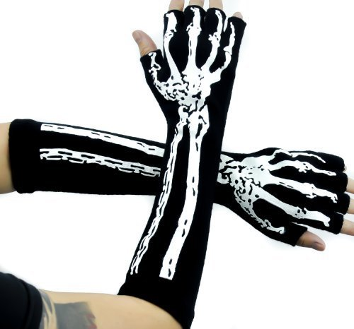 Deathrock Skeleton Fingerless Gloves Gothic Punk Rock Arm -