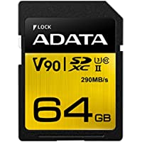 ADATA Premier ONE 64GB SDXC UHS-II U3 Class10 V90 3D NAND 4K 8K Ultra HD 290MB/s SD Card (ASDX64GUII3CL10-C)