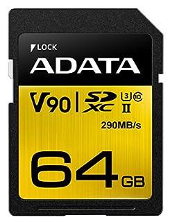 ADATA Premier ONE 64GB SDXC UHS-II U3 Class10 V90 3D NAND 4K 8K Ultra HD 290MB/s SD Card (ASDX64GUII3CL10-C) (B071HJXRS3)   Amazon price tracker / tracking, Amazon price history charts, Amazon price watches, Amazon price drop alerts