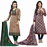 Rajnandini Women's Combo Of Cotton Printed Unstitched Salwar Suit Dress Material Free Size Green & Purple
