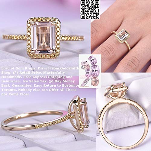 (Emerald Cut Morganite Engagement Ring Pave Champagne Diamond 14K Yellow Gold 6x8mm)