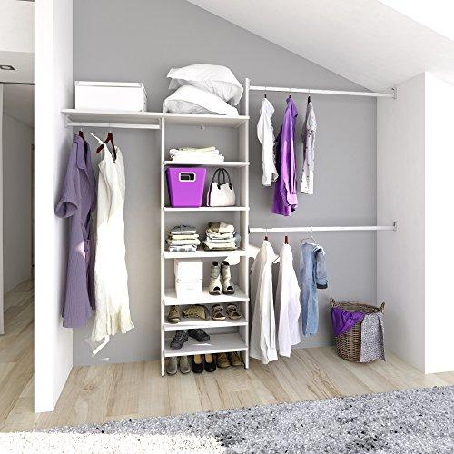 PLAYCON Closet armable Organizador Esencial Modelo PC8. 6 entrepaños y un maletero ancho máximo de 246 cm Color Blan