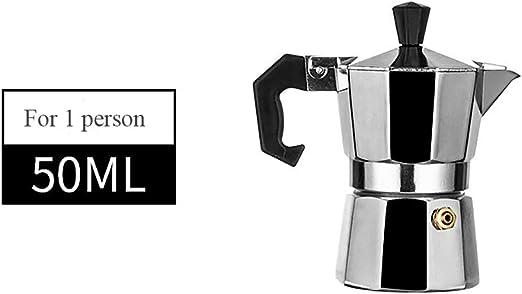 TONVER Cafetera Moka Pot, cafetera octogonal de aluminio Moka Moka Moka, cafetera expreso de 50 ml, cafetera de café para 1 persona 50 ml Como se muestra en la imagen: Amazon.es: Hogar